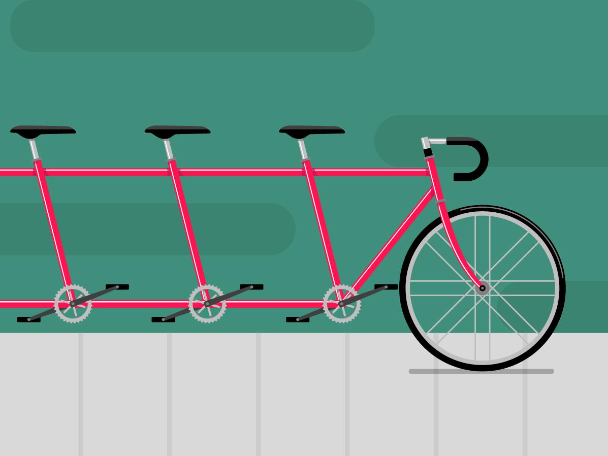 Tandem illustration sidewalk handbars bike vector bicycle tandem