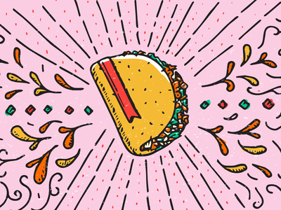 Taco Bible illustration hand-drawn rays mexican bible tacos