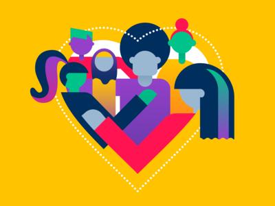 Love and Respect respect illustration women diversity love hearts