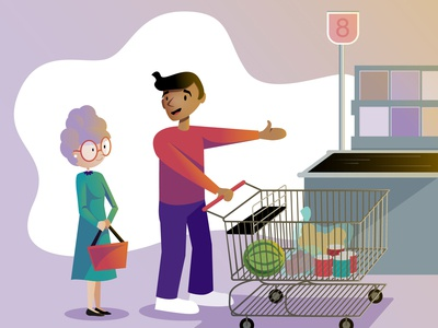 Grocery Line groceries be nice checkout line cart grocery store friendly illustration vector