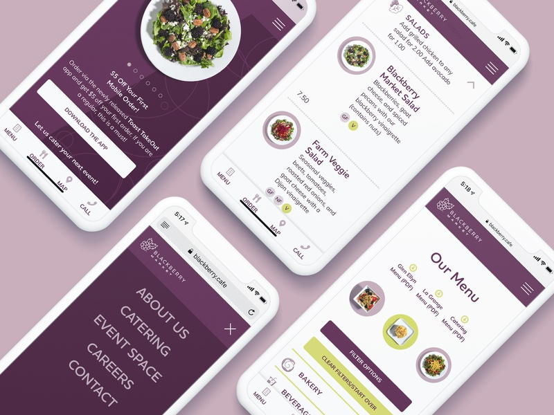 Restaurant Mobile Site mobile salads menu restaurant web design