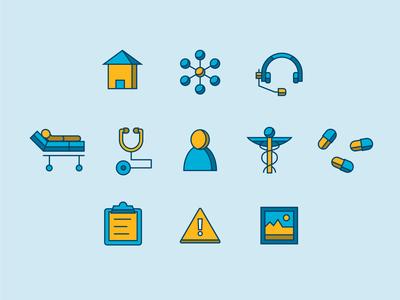 Healthcare icons hospitals illustration medical iconography hospital doctors medicine healthcare