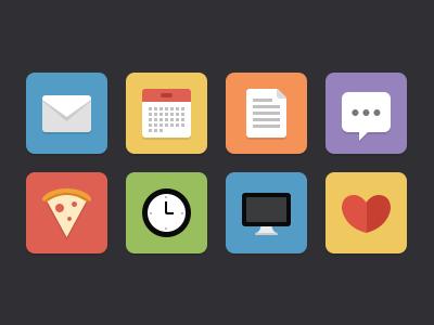 Flat icons flat icons graphic white blue yellow red orange green gray black purple