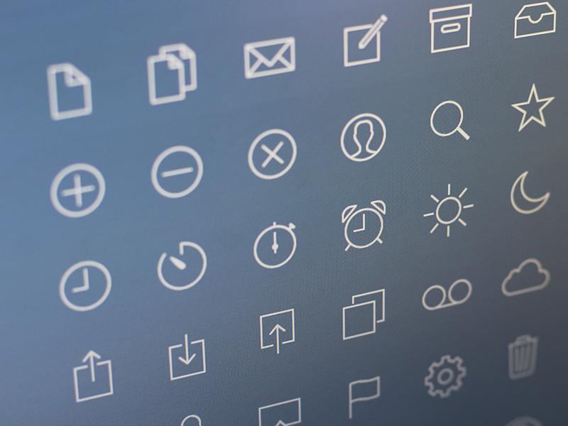 Thinnies 48 ios7 ios apple iphone icon pack icons white black blue line stroke