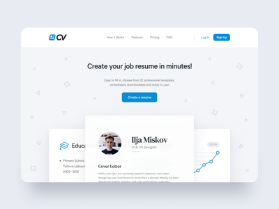 CV Website Design Assignment branding interface icons test concept white blue ux ui clean minimal design template resume cv