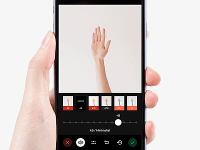 VSCO Filter Editing Screen dark black ux ui mobile apple app ios camera vscocam vsco