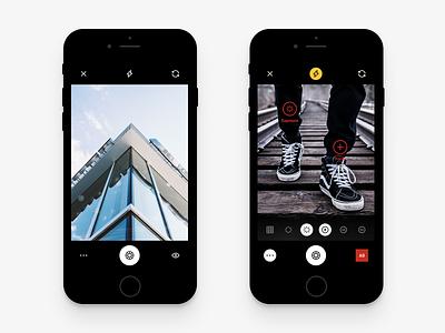 VSCO Camera vsco ui ux ios iphone dark black white minimal interface