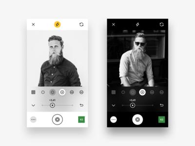 VSCO Camera Live Adjustments interface minimal white black dark iphone ios ux ui vsco