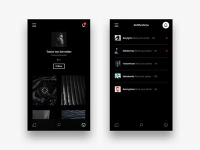 VSCO Dark Profile + Notifications vsco ui ux ios iphone dark black white minimal interface