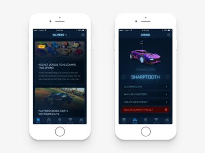 Rocket League Pocket Edition minimal mobile iphone ios interface design ux ui games rocket league