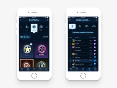 RLPE Garage & Rankings rocket league games ui ux design interface ios iphone mobile minimal