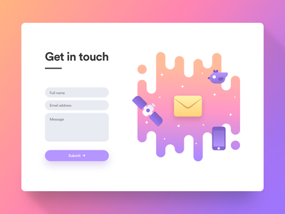 Get in Touch minimal purple colorful white clean website web ux ui