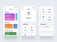 Concept iOS App interface white colorful minimal ux ui statistics iphone ios app
