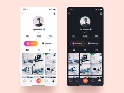 Instagram Profile apple flat branding minimalism colorful gray vector design dark iphone interface clean ios minimal ux ui black white