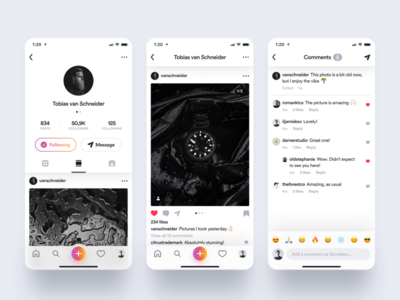 Instagram Photo Page & Comments apple minimalism colorful flat icon design iphone dark interface clean ios web minimal ux black ui white