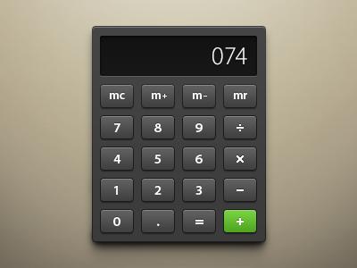 Calculator ui gui calculator interface gray black green brown light dark white