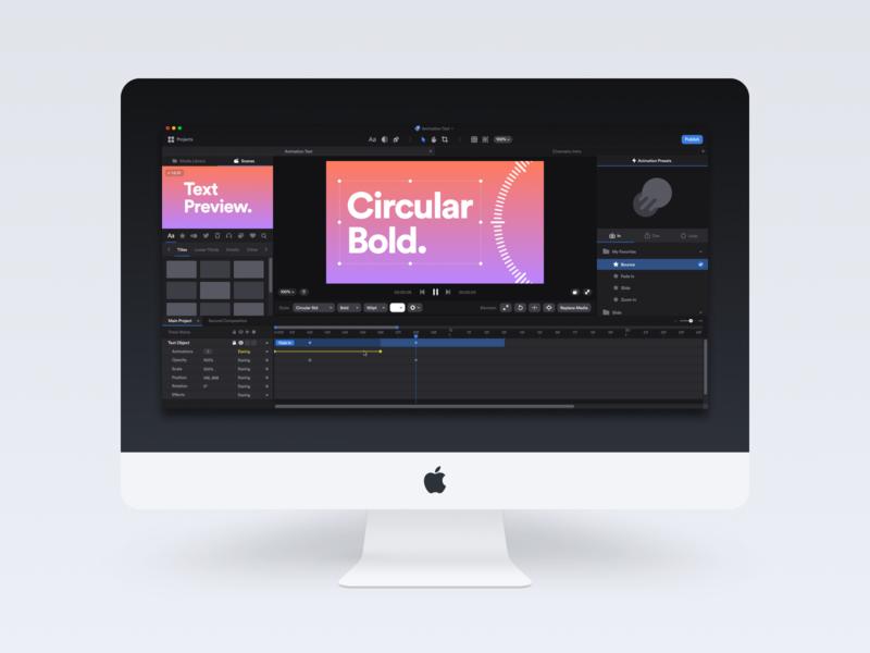 Motion Effects Editor UI mac os mac dark black interface clean minimal ux ui white