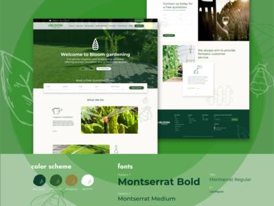Bloom Gardening Landing Page (Website Design) gardening website green landing page green theme website design product designer webdesigner illustrator adobe xd web ux ui design