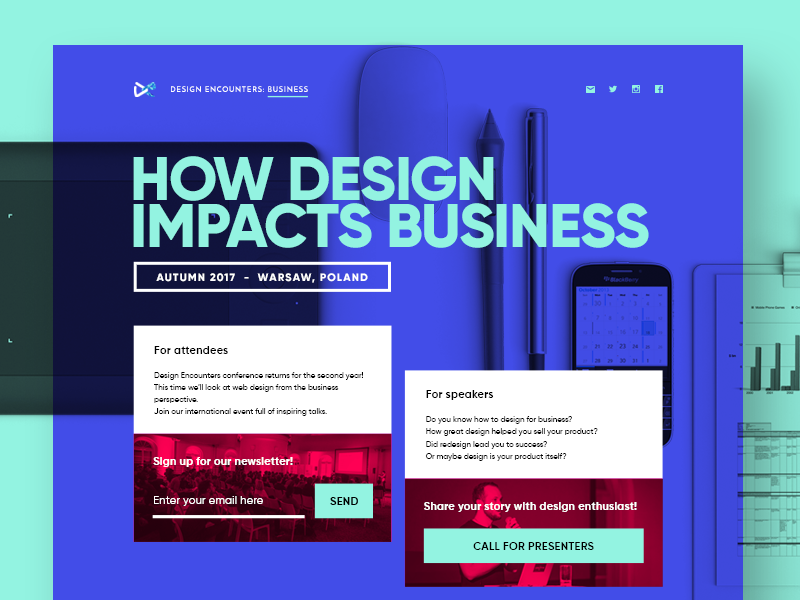 Design Encounters: Business layout coming soon warsaw web design landing page design conference