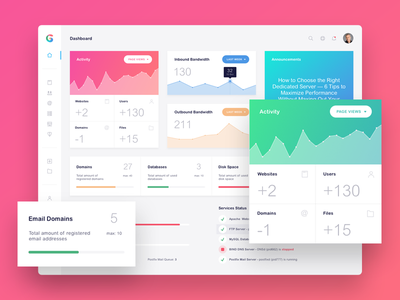 G-Host Admin Dashboard gradients icons list chart color admin panel dashboard