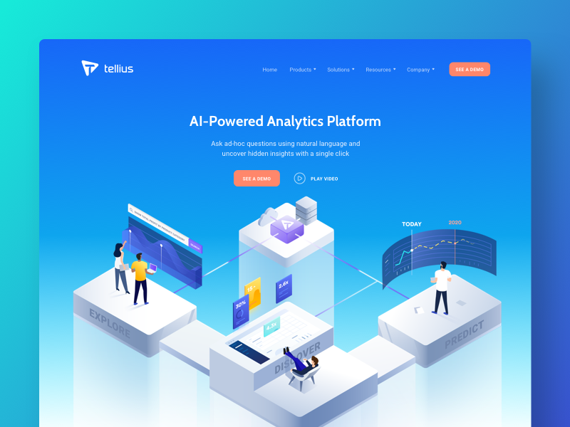 Tellius | website redesign modern clean analysis big data gradients illustrations isometric landing page