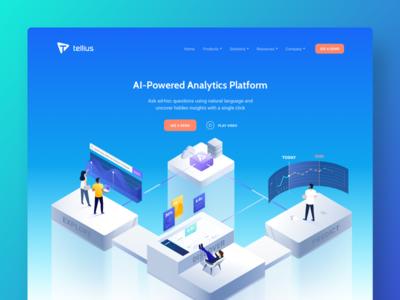 Tellius | website redesign modern clean analysis big data gradients illustrations isometric landing page