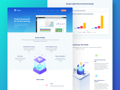 Tellius | features subpages modern landing page isometric illustrations gradients clean big data analysis