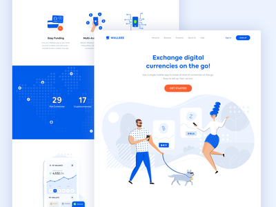 Walleee App Landing Page ui design mobile app illustrations landing page crytpocurrency crypto bitcoin
