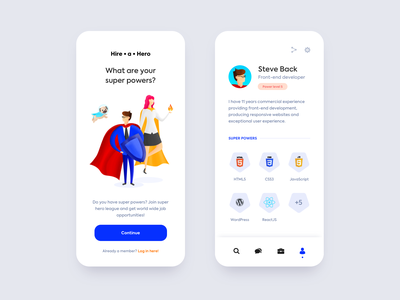 Hire a Hero ux uiux ui mobile app design profile page sketch job app illustration mobile app mobile