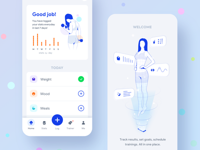 Fitness Companion Mobile App design vector onboarding ios app modern icons lineart illustration fitness trainer fitness