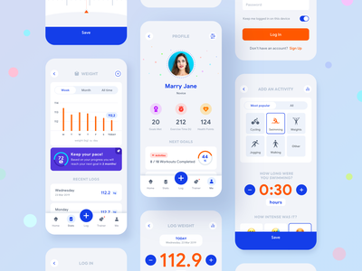 Fitness Companion Mobile App ios app modern icons health fitness stats dashboard activity weight profile app mobile fitness
