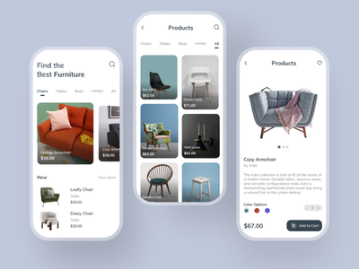 A furniture app typography vector photography design ui  ux ui ux app uxdesign uidesign