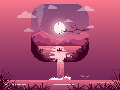 fictional landscape art landscape fictional illustration illustration flat