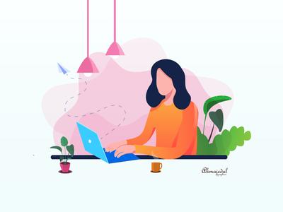 flat illustration laptop women design art illustration flat