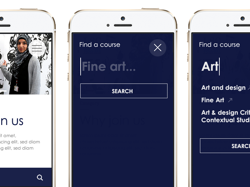 Course Search web design search modal ux mobile ui website search suggestions web design form typography