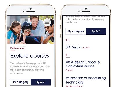 Course listing sort tabs ux ui tabs website sort listing mobile web design web list