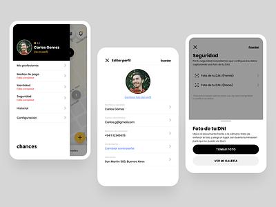 Chances ui menu app ux design ui ui menu design ui designs ui design uidesign mobile app mobile menu