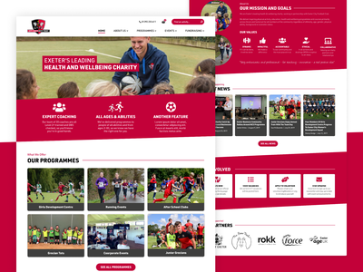 Health & Wellbeing Charity Homepage sport courses sport events events landing page homepage web design community football sport wellbeing health non-profit non profit charity