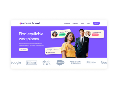 Echo Me Forward Landing Page newsletter signup tech recruitment recruitment colorful colourful clean design purple homepage home homepage landing page