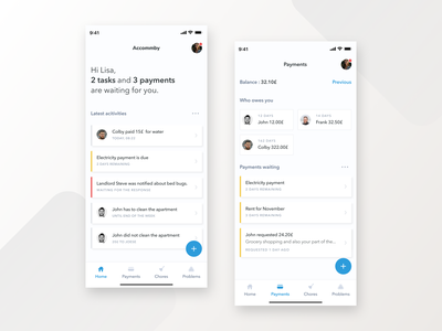 Accommby mobile figma minimal clean payments chores tasks ux ui house rent apartment
