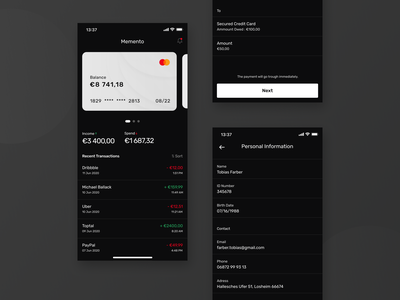 Memento wallet money transaction dark mode clean ios fintech finance app finance credit card bank card banking bank app balance