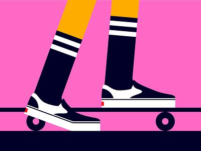 Skateboarding skateboarding skateboard shoes design minimalistic minimalist minimal flat skating illustration vans skate