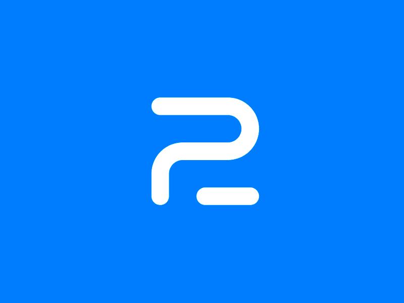 P2 minimalism minimalistic minimal blue line number letter logotype logo design monogram