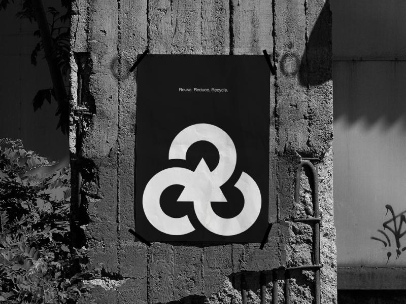 Recycle Symbol — Poster sign logodesign icon isotype mark illustration simple minimalism minimalist minimalistic minimal redesign design logotype logo symbol recycle