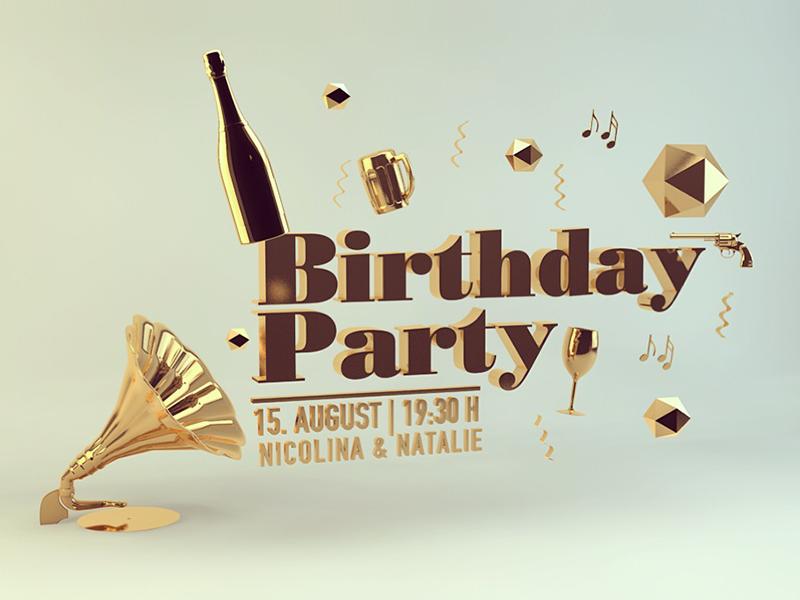 Birthday Invitation invitation birthday cinema 4d 3d rendering typo gold party celebrate