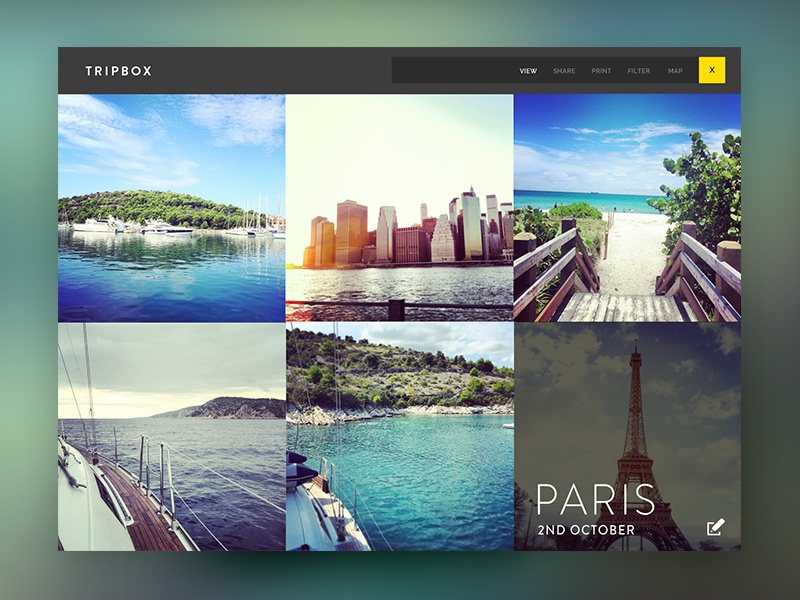 Tripbox interface interaction graphic design userexperience travel instagram holidays photos album picture