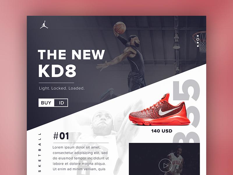 A new one nike shop shoe sports ux webdesign interface kd8 psd web ui basketball