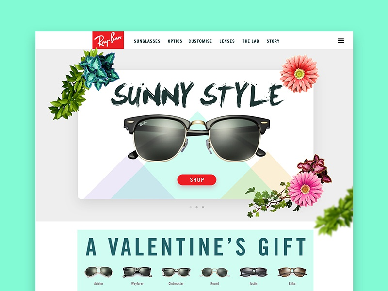 Colorful sunglasses colors summer rayban website ux ui sunglasses flowers shop psd web