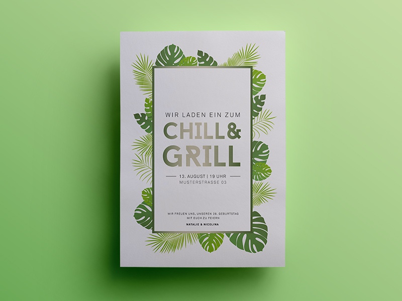 Chill & Grill Party grill chill green postcard party psd sketch card flowers summer invitation invite