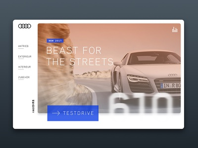 Audi R8 orange design ux interface sketch website web card r8 audi car automotive